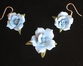 Blue Cold Porcelain Floral Pendant and Earring Set