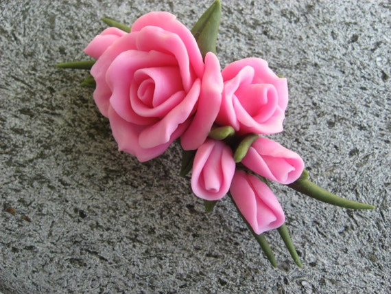 Pink Cold Porcelain Rose Pin