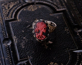 Skeleton Lady Cameo Ring- Red, Black and Silver