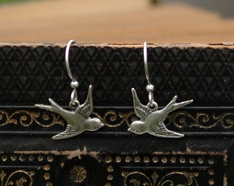 Love Bird Earrings - Antiqued Silver