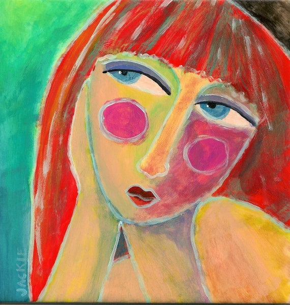 Hand painted ceramic art tile abstract portrait of by for Hand painted portraits from photos