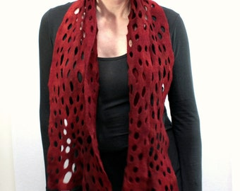 Cholla Felt Scarf in Earthy Red Marsala -- cashmere-soft merino lacy openwork