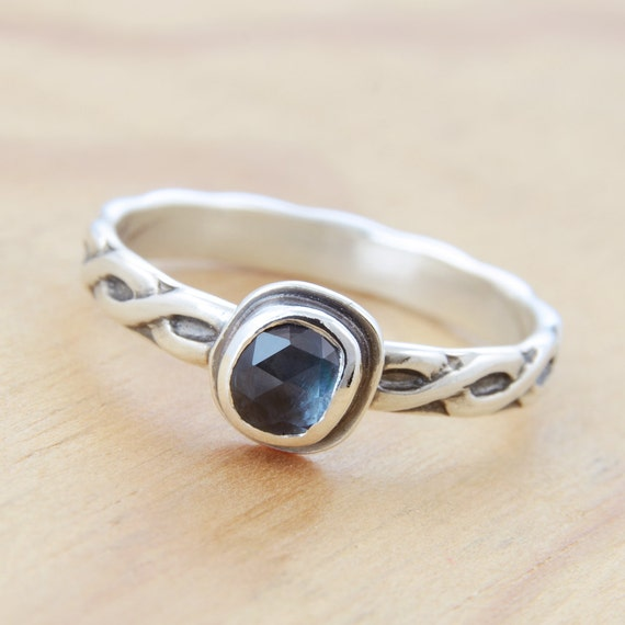 Sapphire Braided Ring, September Birthstone, Handmade Sterling Silver, Size 7