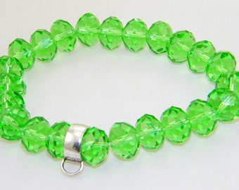 Green glass rondelle stretchy bracelet for lobster claw charms, clip on charms, Christmas, Holiday jewelry