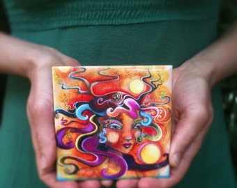 Serafina's Gold, ceramic art tile