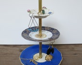 tiny flowers 3 tier antique jewelry stand