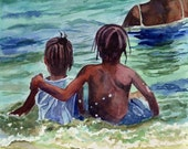Black African American Child Children Boy Girl Beach art Print of my Watercolor Painting Caribbean Kids