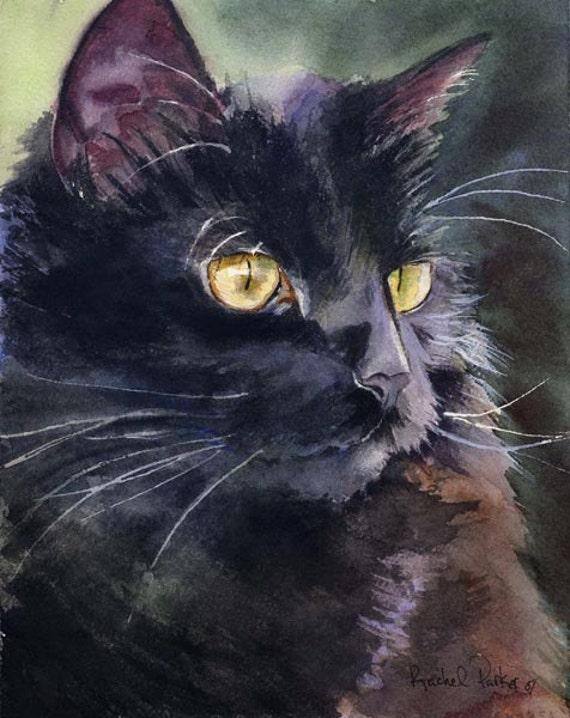 Black Cat Art Painting PRINT Watercolor painting  Rachel Parker rachelsstudio Artist Artwork Custom hand painted handmade huge large big