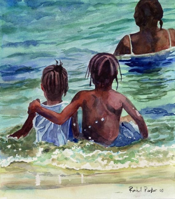 Black African American Child Children Boy Girl Beach Art Print