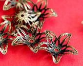 Nickel Free 24pcs 18mm Antique Bronze Filigree Flower Bead Caps D013-AB-NF