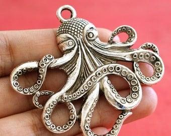 2pcs Antique Silver Big Octopus Pendants 429-AS