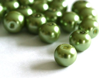 50pcs 8mm Lt. Olive Pearl Glass Beads HY8mm78