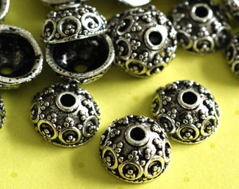 Sale Lead Free 24pcs Antique Silver Alloy Bead Caps (10mm ) A19567-AS-LF