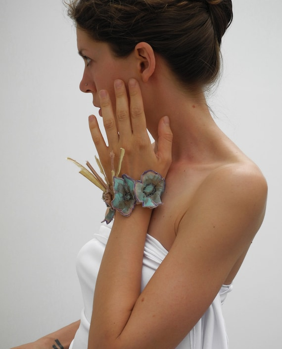 custom for Serena, fairy vintage bracelet, upcycled poppy flowers, silk bracelet cuff