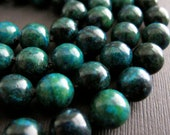 Northern Lights...Chrysocolla Hand Knotted Necklace, Longer Length Necklace