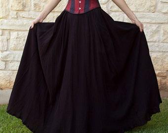 Black Gauze Renaissance Skirt - Adult Halloween Costume - Pirate Costume - Ren Faire Garb - Medieval Clothing - Peasant Costume - Long Skirt