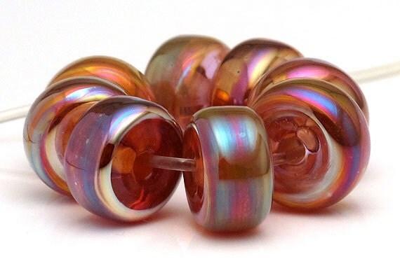 Handmade Lampwork Bead Set Rainbow Metallic and Earth Tone Rondelles SRA