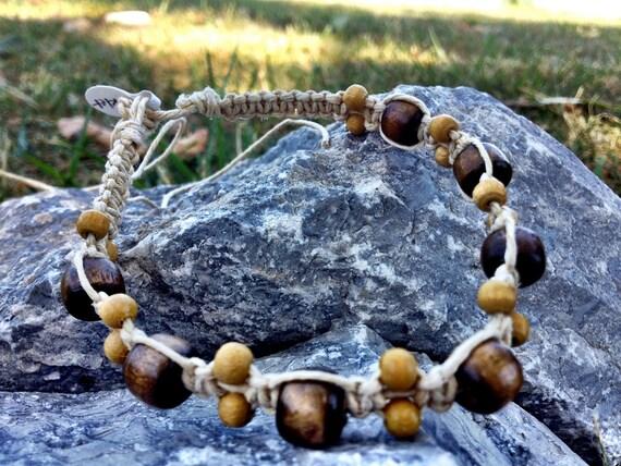 Mens/Womens Stackable Trendy Summer Macrame Hemp Bracelet/Anklet with Wooden Beads Boho/Hippie Style