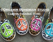 Hand painted Colorful Peace Signs Cheetah Zebra Leopard print neon colors Custom TOMS low lead crystals bling canvas slip on  shoes