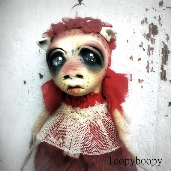 Odd Strange Baby OOAK Art Doll Christmas Ornament Regina  Island of the MisFit Orphans