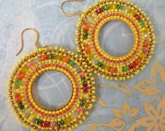 Beadwork Hoop Earrings Yellow Sunshine Seed Bead Earrings