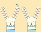 two bunnies print, fine art print by kate durkin, nursery art