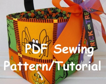 PDF Sewing Pattern/Tutorial  - Halloween Candy Basket - Fabric Organizer Bin - Easter Basket