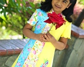 Girls dress, hoodie dress, jersey dress, pixie hood, short sleeves, back to school, colorful dress, bleu yellow, flowers, patchwork dress