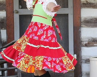 Chritsmas dress size 7 ready to ship, corduroy patchwork twirl dress, red green orange apron dress, colorful winter dress, tween girl dress