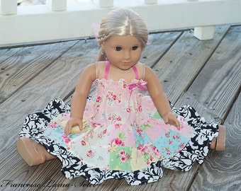 """American Girl 18"""" Doll Clothes birthday easter pastel romantic Patchwork Twirl dress  Lovely Rose"""