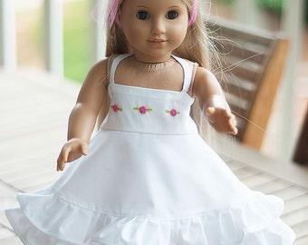 "American Girl Clothes 18"" doll  dress white vintage heirlom twirl dress - Aude White"