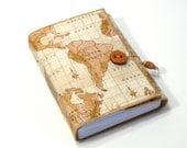 World Travels- Fabric Journal - Wanderlust Travel Journal