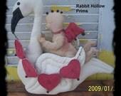 Primitive Valentines day Cupid Rides a Swan Set