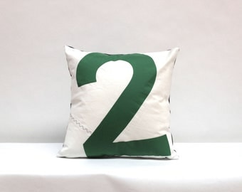 Nautical decor recycled sail pillow  - Green Number 2