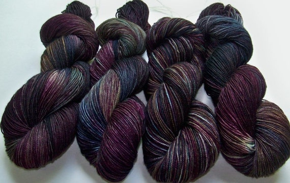 Hand Painted 2-Ply Superwash BFL and Nylon Sock Fingering -- Grackle (Purples, Blues, Greens, Browns)