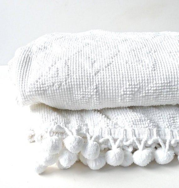 White Rose Petit Point Pom Pom Vintage Chenille Bedspread