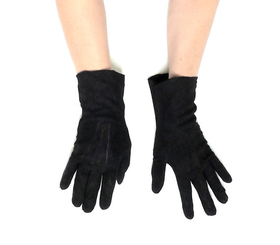 Vintage Black Luxurido by Superl Washable Black Suede Gloves 7-1/4