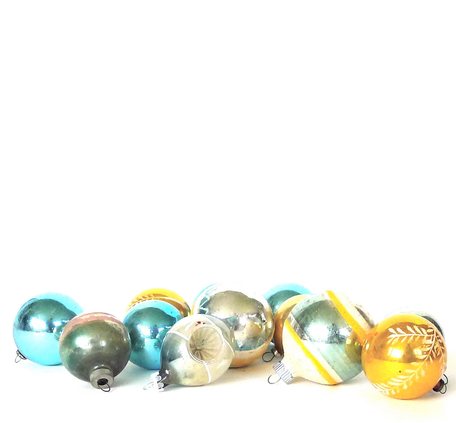 Mix matched aqua and gold christmas tree ornament collection