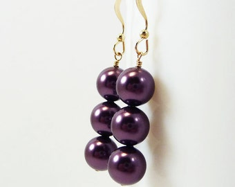 Burgundy Pearl Earrings Purple ARISTOCRAT Bridal Wedding Bridesmaid Swarovski Gold Filled
