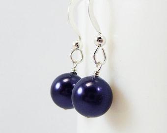 Dark Purple Pearl Earrings BELLE Bridal Wedding Bridesmaid Swarovski on Sterling silver