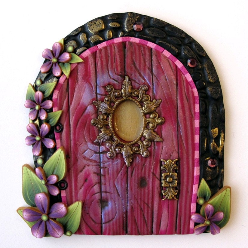Pink princess fairy door kids home decor wall art for Pink fairy door