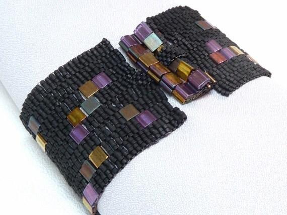 Deep Purple Sky Beadwoven Cuff Bracelet - Modern Blocks Collection