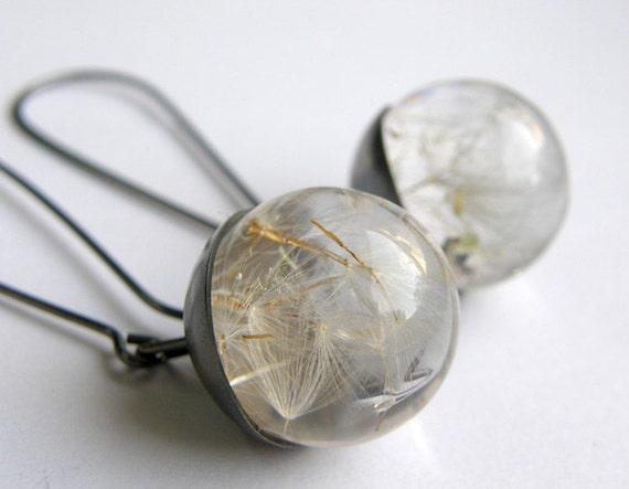 Dandelion Seeds Resin Earrings, Resin and Silver Earrings