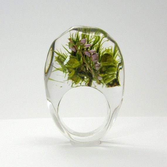 Clear Moss and Heather Resin Ring, Woodland Ring