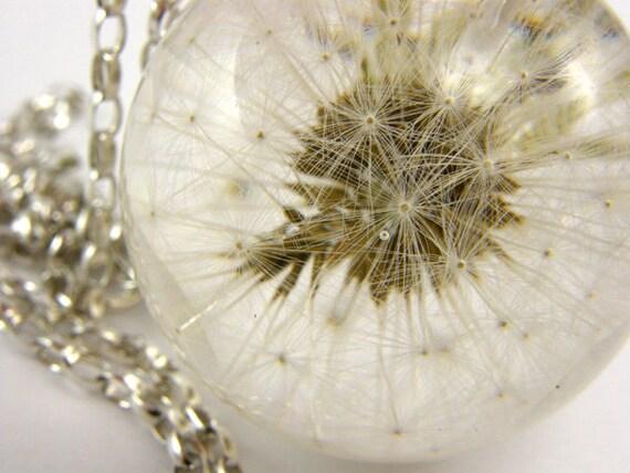 Dandelion Pendant, resin pendant, floral pendant, resin necklace