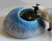 RESERVED Cat Bed / Cave / House / Vessel - Hand Felted Wool - Warm Gray Stone - Crisp Contemporary Design