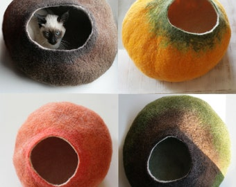 Custom felted Cat Bed / Cave / House / Vessel - Hand Felted Wool - Crisp Contemporary Design