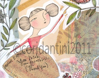 watercolor folk painting of a woman and a butterfly -,8 x 10 limited edition and archival print by cori dantini