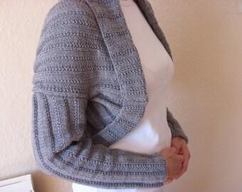 KNIT BOLERO CARDIGAN/Handknitted Grey Ribbed Ladies Long Sleeved Bolero Style Cardigan-Knit Womens Jacket - Ready to Ship