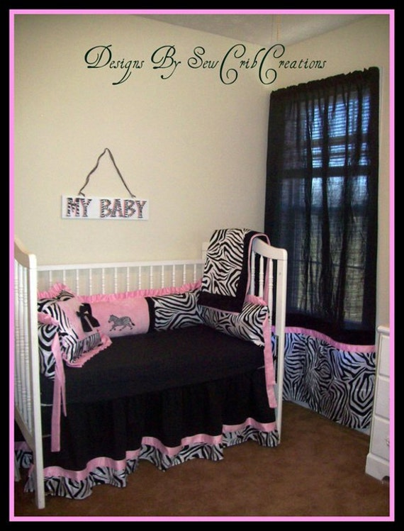 Zebra And Black With Pink Crib Bedding Set